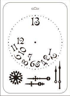 Трафарет ддя творчества, прямоугольный, Уставшие часы, ТТР-35