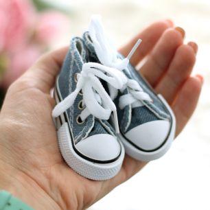 Обувь для кукол Тильда - 7.5 см джинсовые кеды