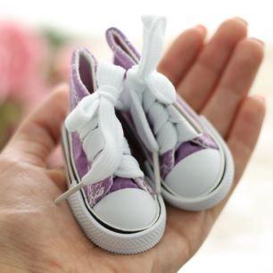 Обувь для кукол Тильда - 7.5 см сиреневые кеды