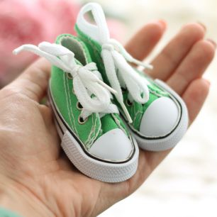 Обувь для кукол Тильда - 7.5 см зеленые кеды