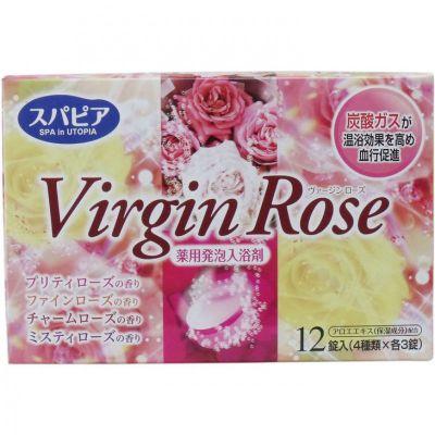 """""""Fuso Kagaku"""" """"Virgin Rose"""" Соль для ванны на основе углекислого газа c бодрящим эффектом и ароматом роз (12 таблеток*40 гр.)"""
