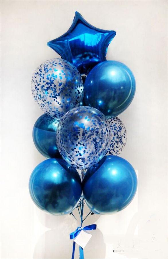 Композиций из синих шариков хром и шаров с синим конфетти Kapriz