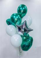 Связка из 2 сердец,звезды,3 хромовых и 4 стандартных шарика