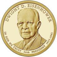 34-й президент США - Дуайт Эйзенхауэр. 1 доллар США 2015 года