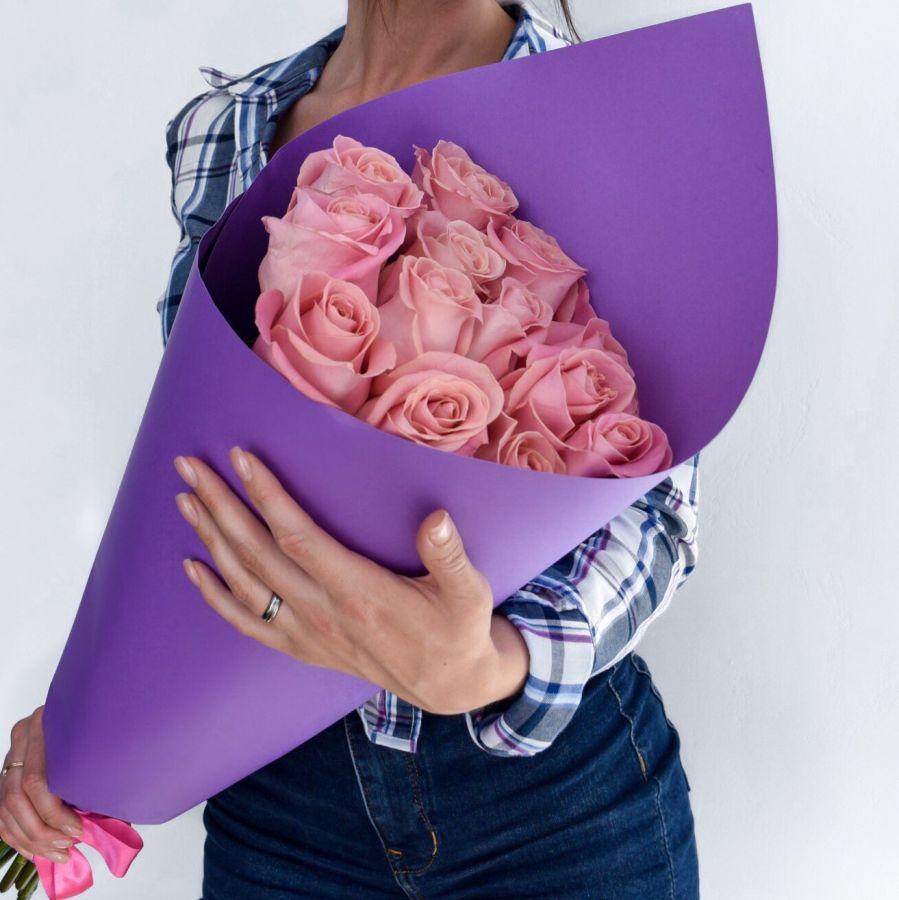 Букет розовых роз 60 см
