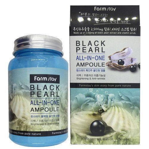 Многофункциональное ампульное средство с черным жемчугом FarmStay Black pearl All-In One Ampoule, 250 ml
