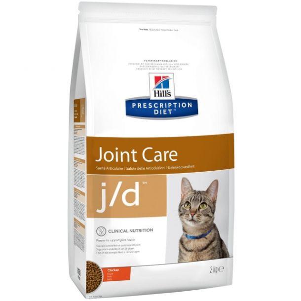 Корм сухой Hill's Diet j/d Joint Care для кошек для поддержания здоровья суставов с курицей, 2кг