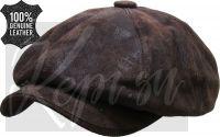 Кепка кожаная восьмиклинка американка (чикаго, коричневая, США)