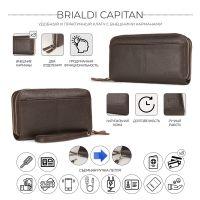 Мужской клатч с двумя отделениями BRIALDI Capitan (Капитан) relief brown
