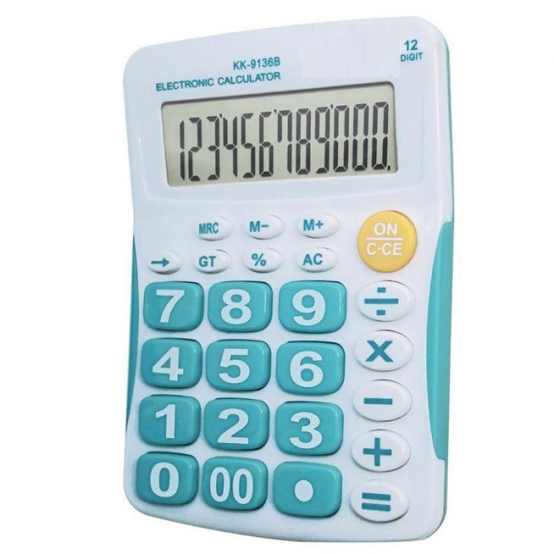 Настольный 12-Разрядный Калькулятор С Большими Кнопками Kaerda KK-9136B, Цвет Голубой