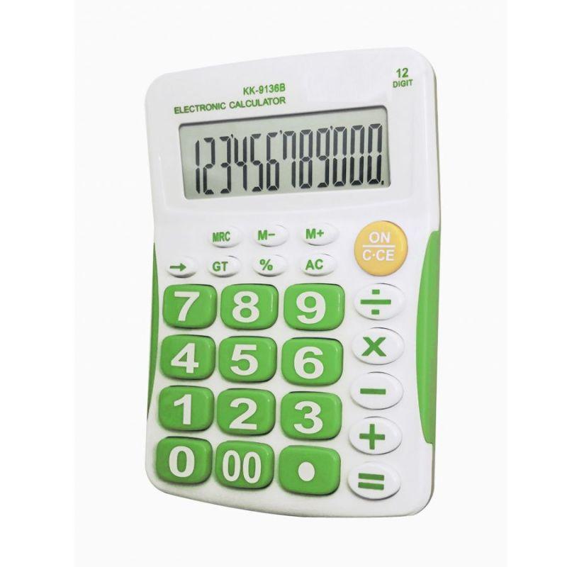 Настольный 12-Разрядный Калькулятор С Большими Кнопками Kaerda KK-9136B, Цвет Зеленый