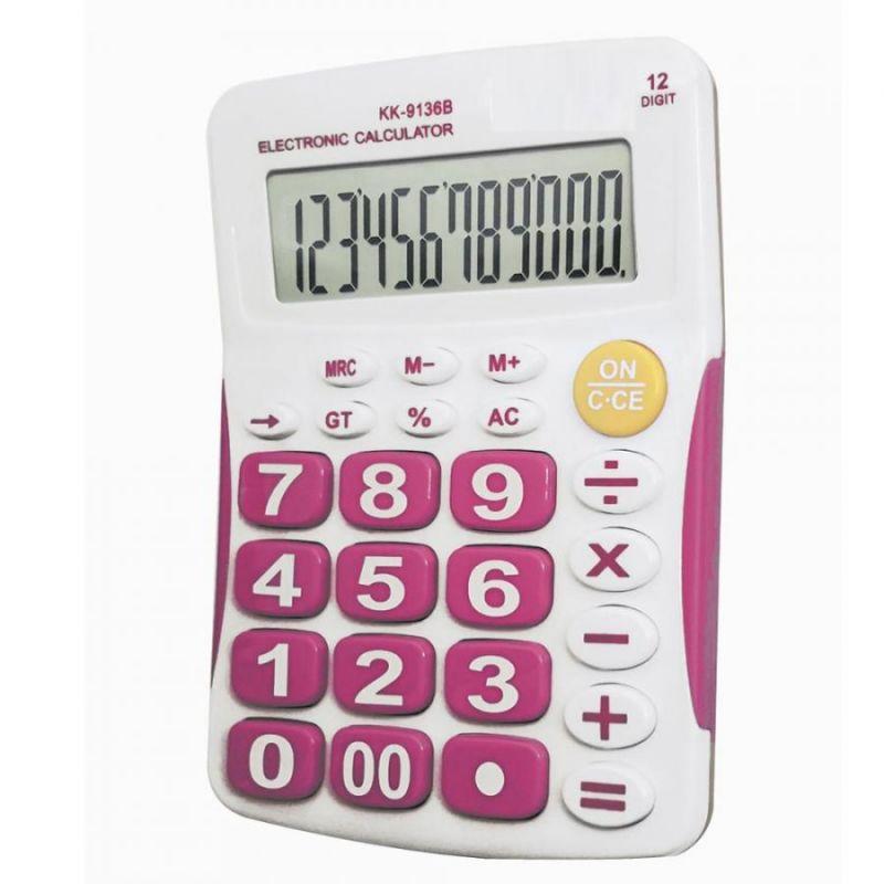 Настольный 12-разрядный калькулятор с большими кнопками Kaerda KK-9136B, цвет розовый