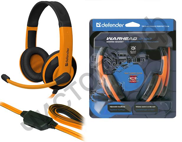 Гарнитура (науш.+микр.) DEFENDER Warhead G-120 черный + оранжевый, кабель 2 м игровая