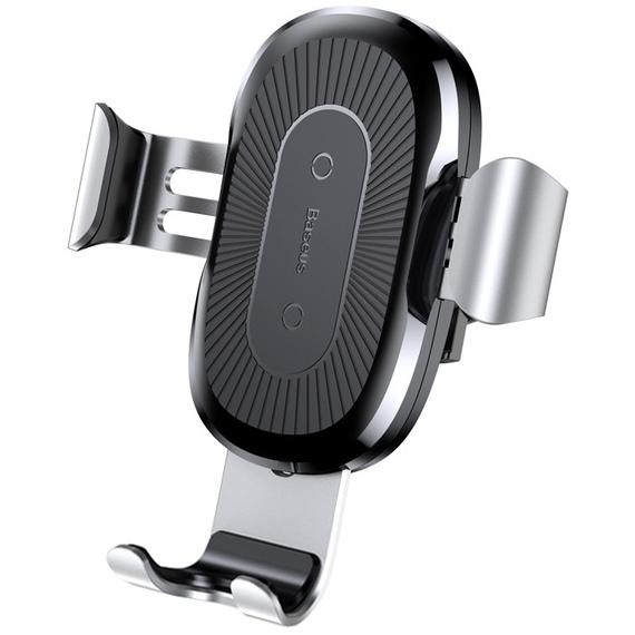Автомобильный держатель для телефона в дефлектор с беспроводной быстрой зарядкой Baseus Gravity - Серебристый (WXYL-0S)