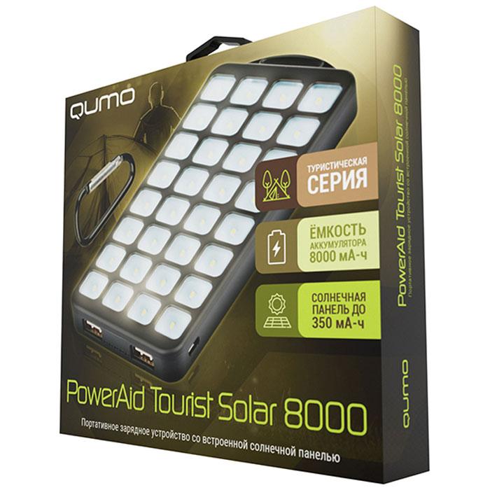 Портативное зарядное устройство со встроенной солнечной панелью Qumo PowerAid Tourist Solar 8000mAh