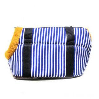 Сумка-переноска для собак с меховой отделкой Геометрия, Рисунок: Полоски Синие/Белые