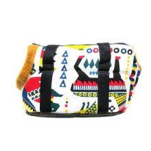 Сумка-переноска для собак с меховой отделкой Геометрия, Рисунок: Звери цветные