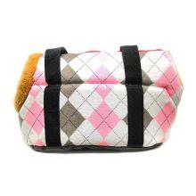 Сумка-переноска для собак с меховой отделкой Геометрия, Рисунок: Ромбы Серые/Розовые
