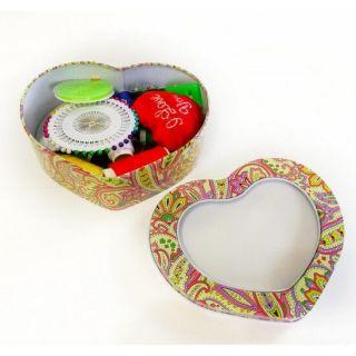 Набор для шитья в футляре Сердце, 16х12х5 см