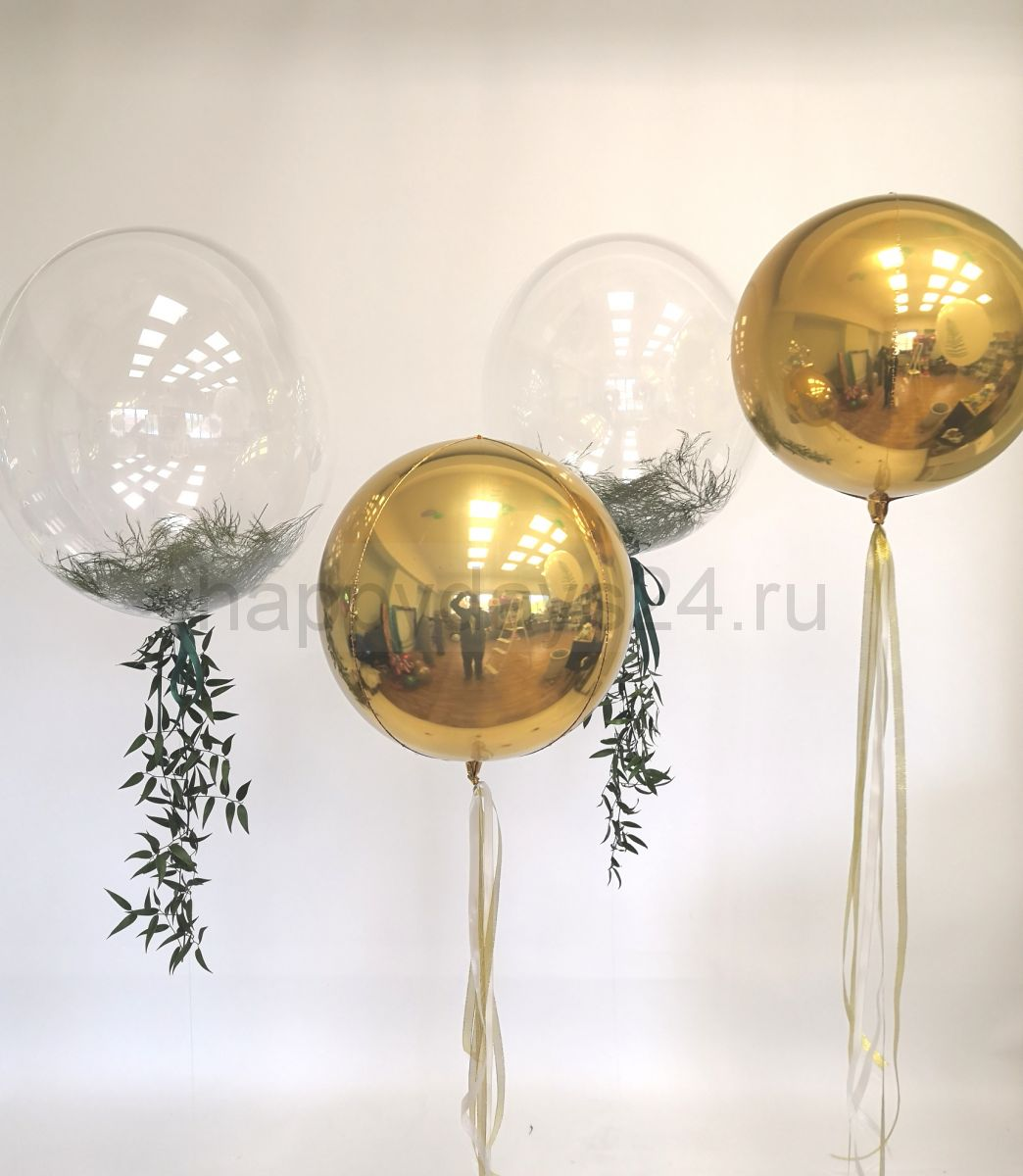 Набор со сферами и bubbles с живой зеленью