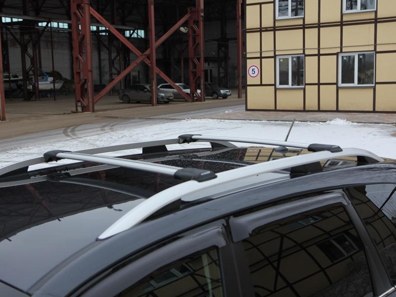 Багажник на рейлинги Subaru Forester SJ 2012-..., FicoPro R-54, серебристый, крыловидные аэродуги