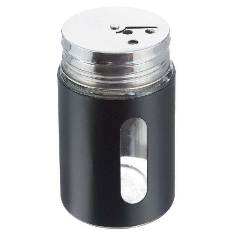 Баночка для специй с тремя видами отверстий, цвет черный