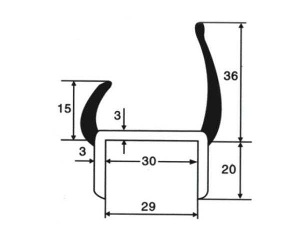 Уплотнитель резинопластиковый 30 мм (Арт.: 58930)