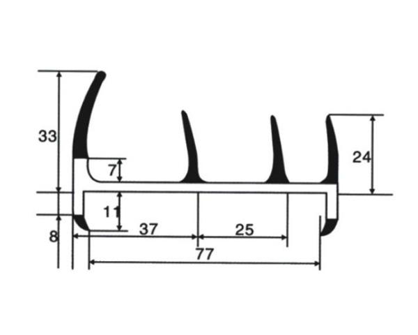 Уплотнитель резинопластиковый 77 мм (Арт.: 58977)