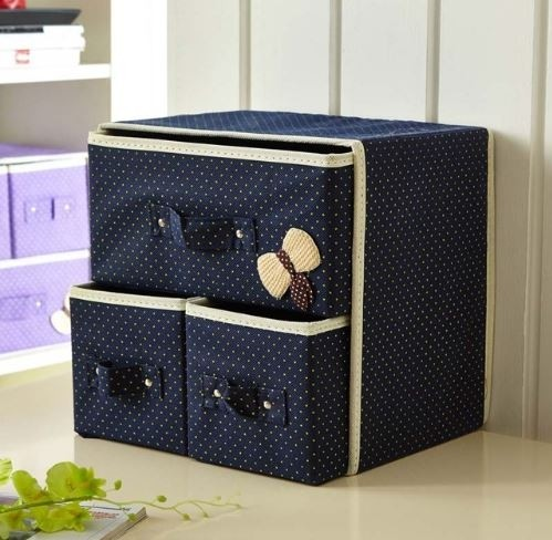 Складной мини-комод с 3 ящиками, 29х20х28 см, Цвет Синий