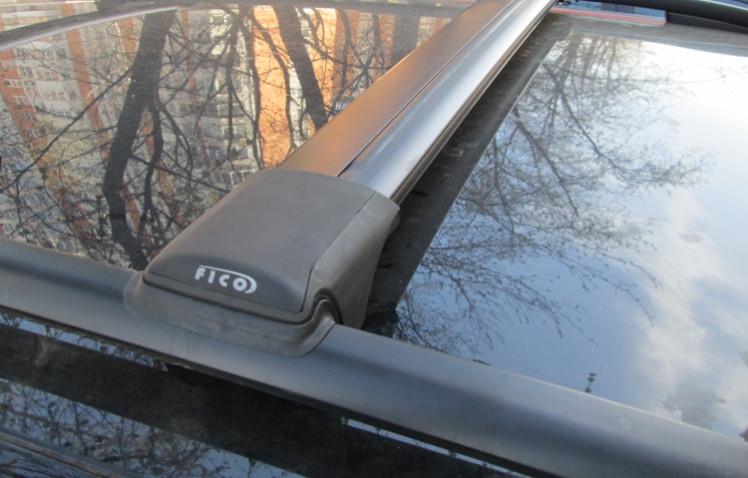 Багажник на рейлинги Hyundai Tucson JM 2004-10, FicoPro R-44, черный, крыловидные аэродуги