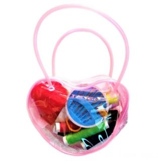 Мини-набор для шитья в сумочке Сердце, 12х9х3 см, Цвет: Розовый