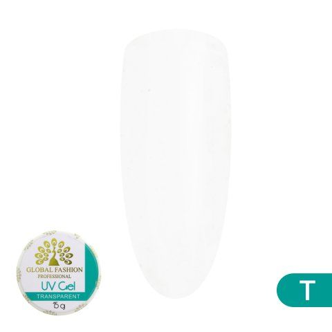 Гель для наращивания ногтей, прозрачный, Global Fashion Transparent, 15 гр
