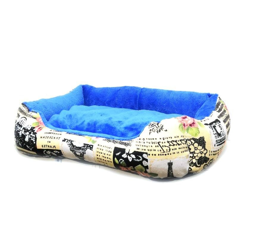 Прямоугольный лежак для животных, 40х32см, Цвет Бежевый , Узор Эйфелева Башня