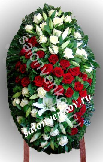 Элитный траурный венок из живых цветов №106, РАЗМЕР 100см,120см,140см,170см