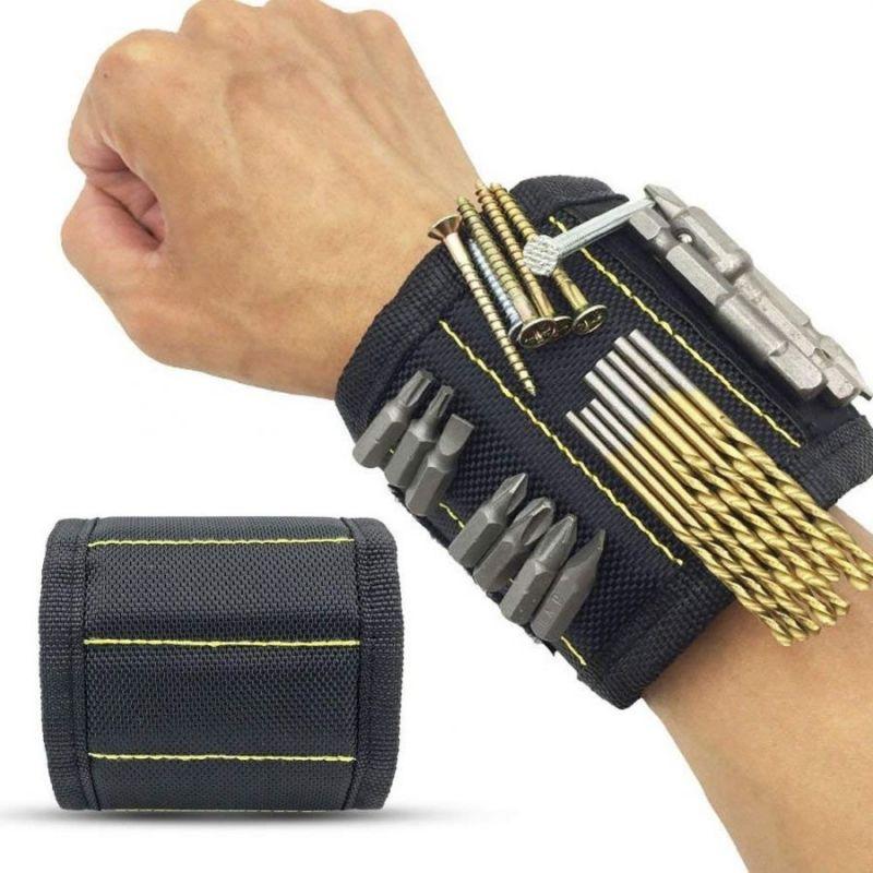 Строительный Магнитный Браслет Magnetic Wristband 5 Магнитов, Цвет Черный