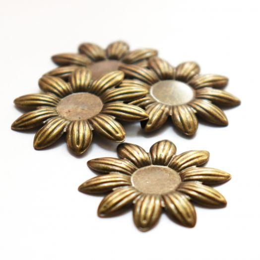 Рамка сеттинг, №7, Накладка Цветок, старая бронза, 4 шт/упак