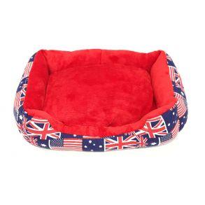 Прямоугольный лежак для животных, 40х32см, Цвет Синий, Рисунок Британский флаг