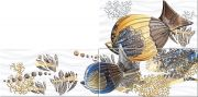 Лидо Панно Дениз - комплект из 3 плиток 81x40,2 (40,5x20,1)