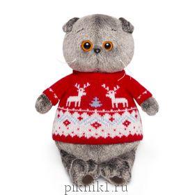 Кот Басик в свитере с оленями 25 см