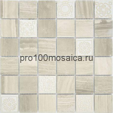 Мозаика Art Travertino silver матовая 30х30х0,8 см (чип 48х48х8 мм)