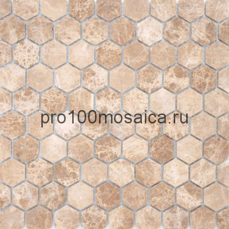 Мозаика Pietrine Hexagonal - Emperador Light матовая 29,5x30,5х0,6 см (чип 18х30х6 мм)