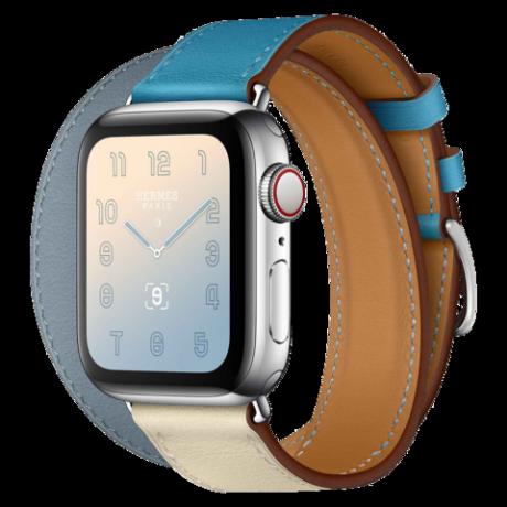 Apple Watch Hermes Series 4 Stainless Steel 40mm GPS + Cellular Bleu Lin/Craie/Bleu du Nord Swift Leather Double Tour