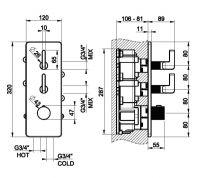 Gessi Inciso смеситель для ванны/душа 58204 схема 1
