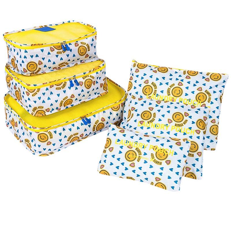 Набор Дорожных Сумок Для Путешествий Laundry Pouch, 6 Шт, Цвет Белый С Желтым