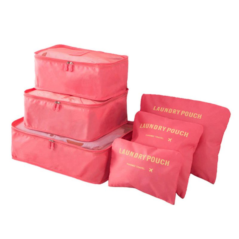 Набор Дорожных Сумок Для Путешествий Laundry Pouch, 6 Шт, Цвет Розовый