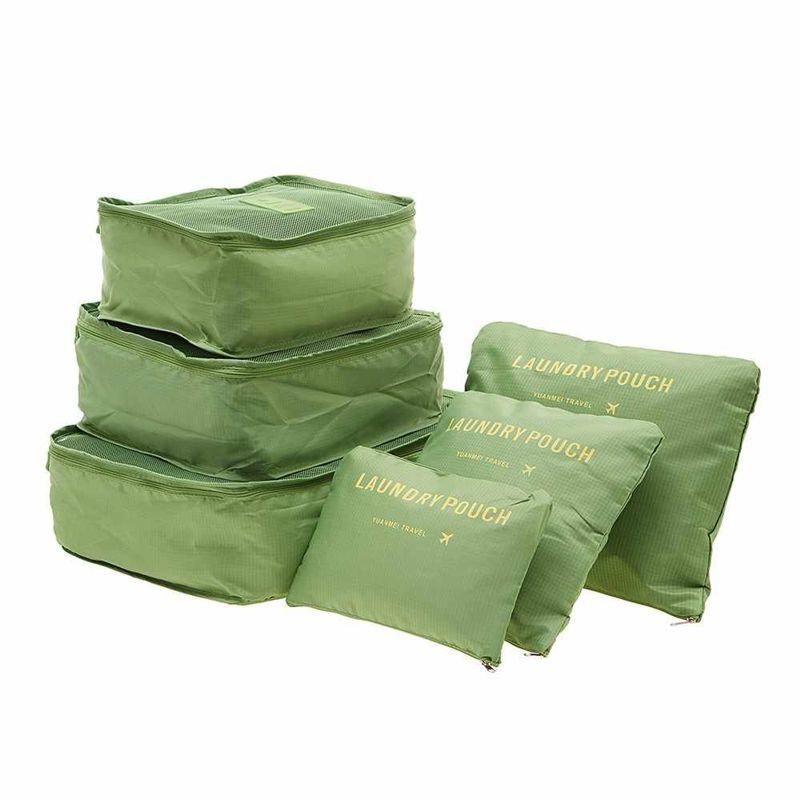 Набор дорожных сумок для путешествий Laundry Pouch, 6 шт, цвет зеленый