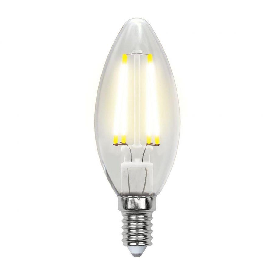 Лампа светодиодная филаментная (UL-00003245) Uniel E14 7,5W 3000K прозрачная LED-C35-7,5W/WW/E14/CL GLA01TR