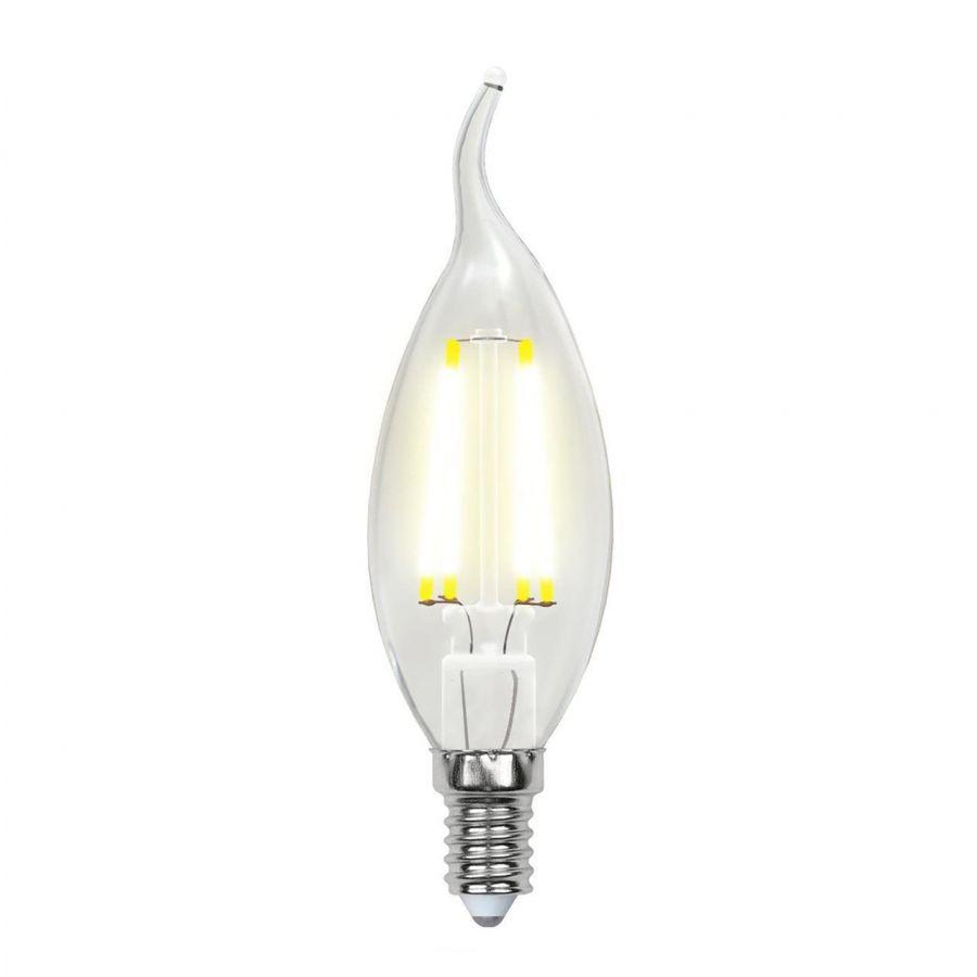 Лампа светодиодная филаментная (UL-00003296) Uniel E14 7,5W 4000K прозрачная LED-CW35-7,5W/NW/E14/CL GLA01TR