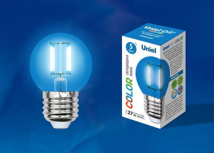 Лампа светодиодная (UL-00002990) E27 5W синий LED-G45-5W/BLUE/E27 GLA02BL