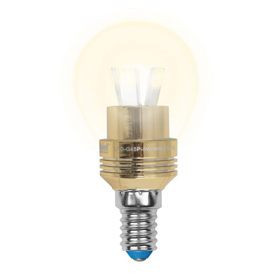 Лампа светодиодная (10061) E14 5W 3000K прозрачная LED-G45P-5W/WW/E14/CL ALC02GD
